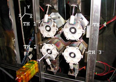 Photograph of the BHT-200 cluster mounted inside the LVTF with diagnostics and with thruster labels