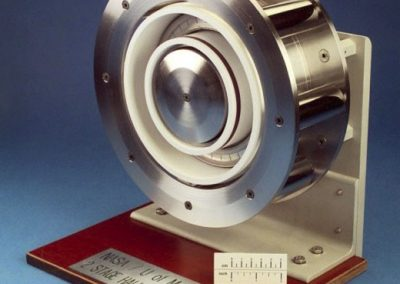 Photograph of the P5-2, a high specific impulse two-stage Hall thruster with plasma lens focusing